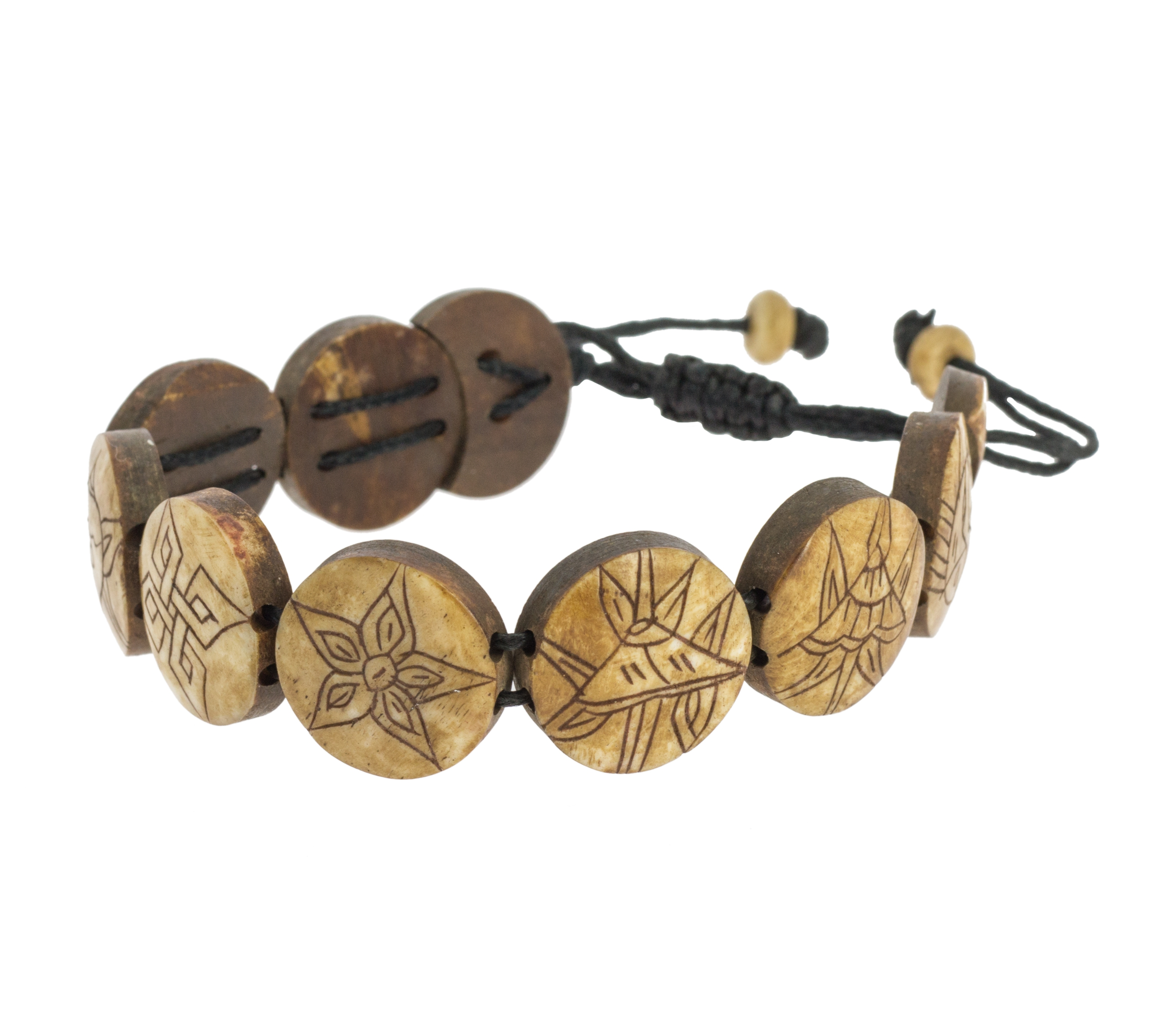 Eight Auspicious Symbols Bone Bracelet