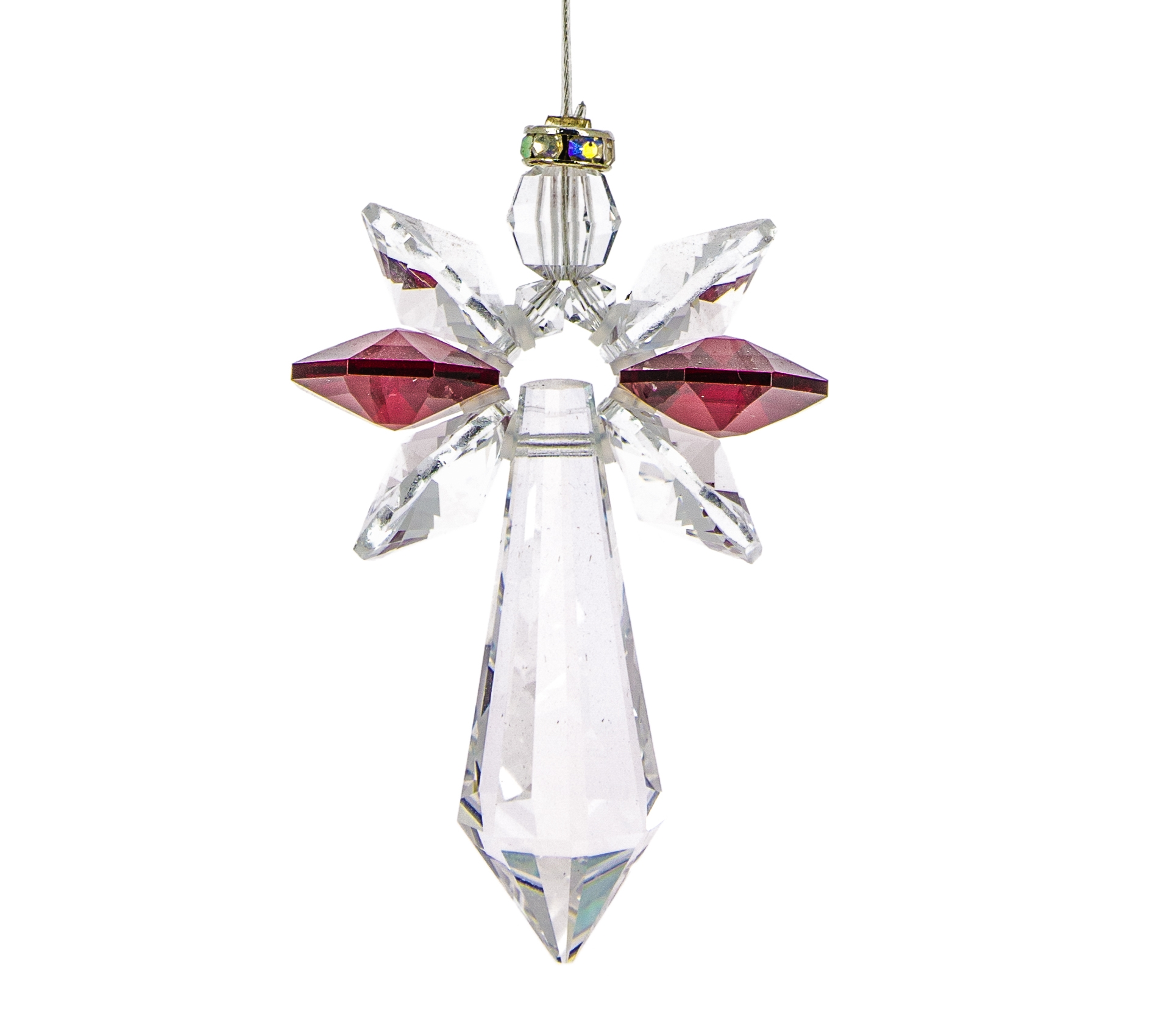 Birthstone Archangel Crystal Suncatcher - Garnet, January
