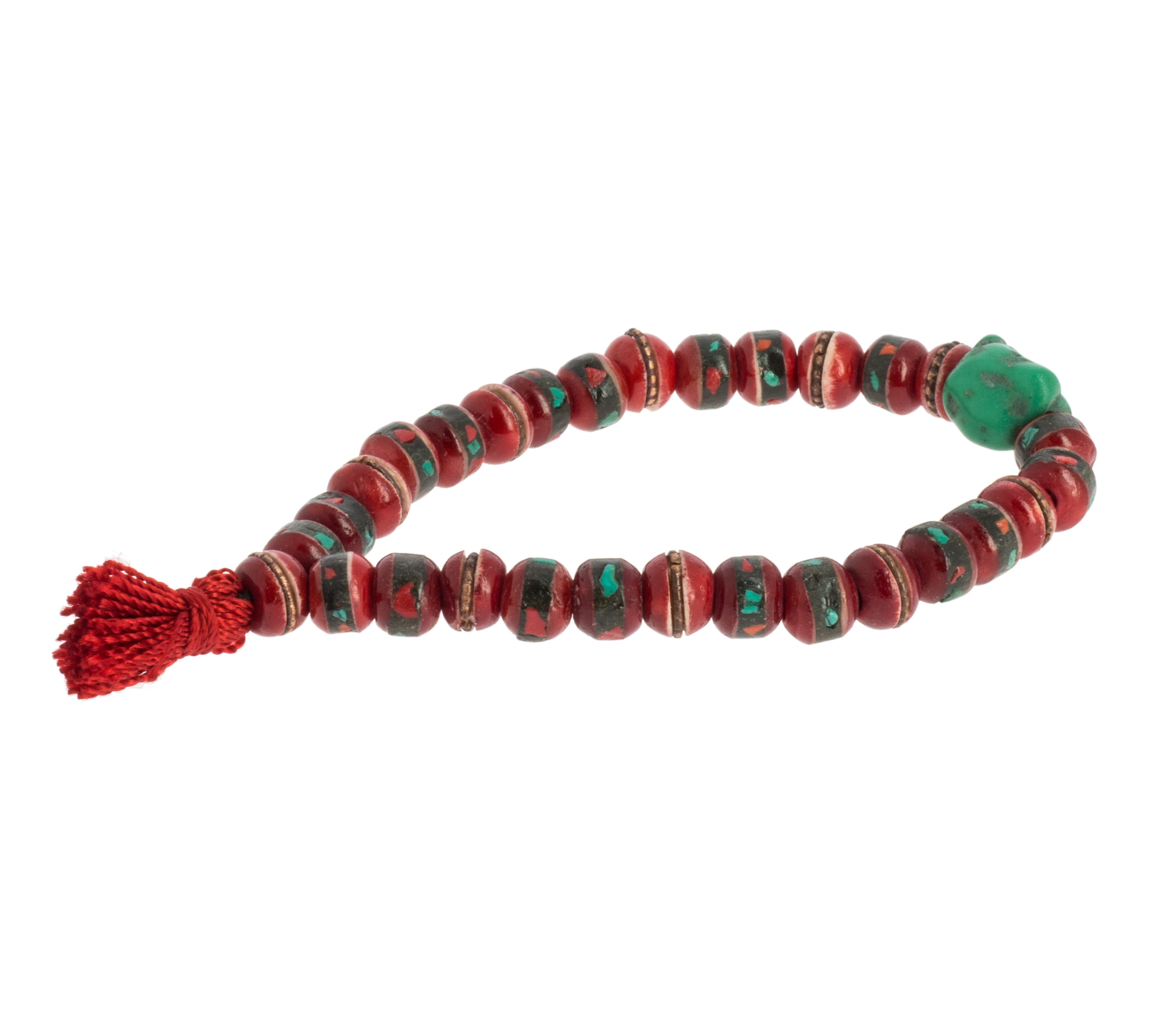 Red Bone Wrist Mala with Inlays