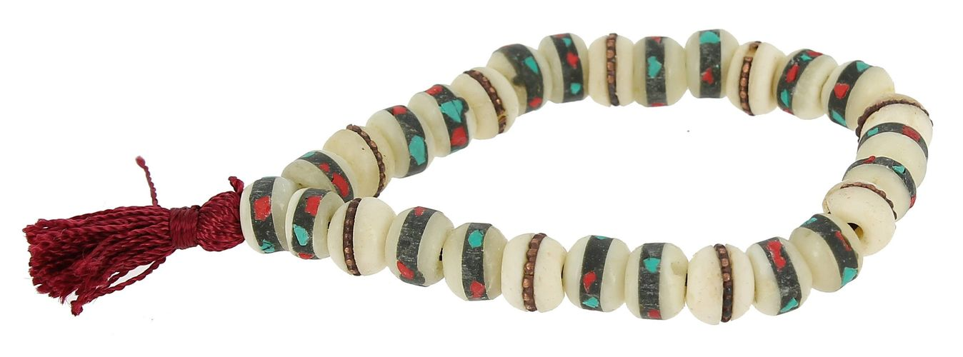 White bone bracelet-mala with inlays